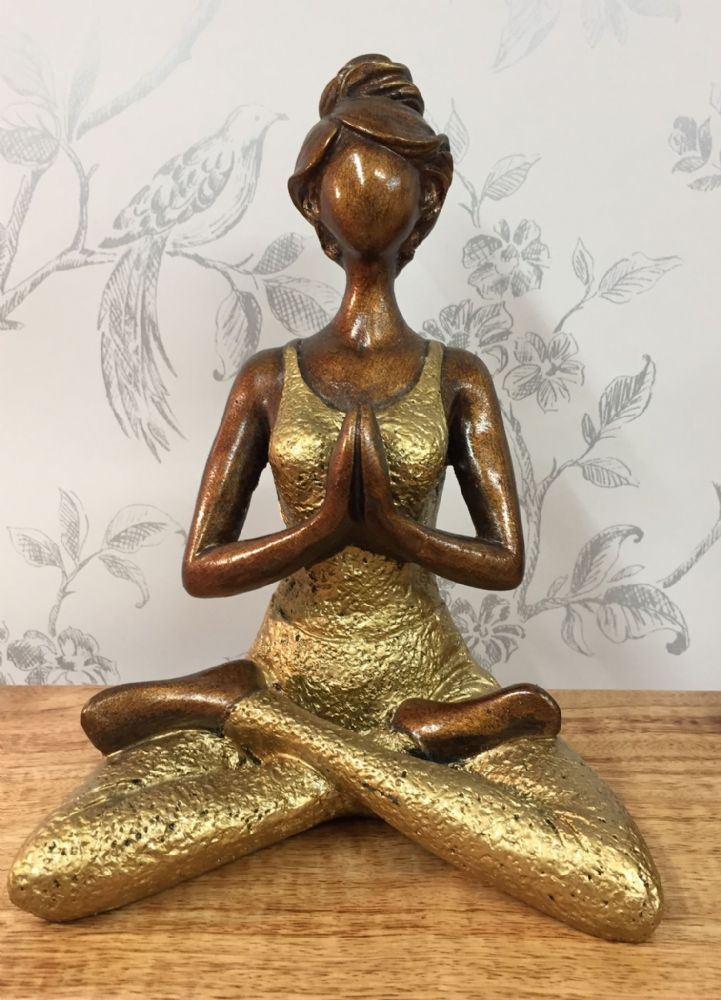 Bronze Effect Yoga Woman Contemporary Ornament ~ Gold